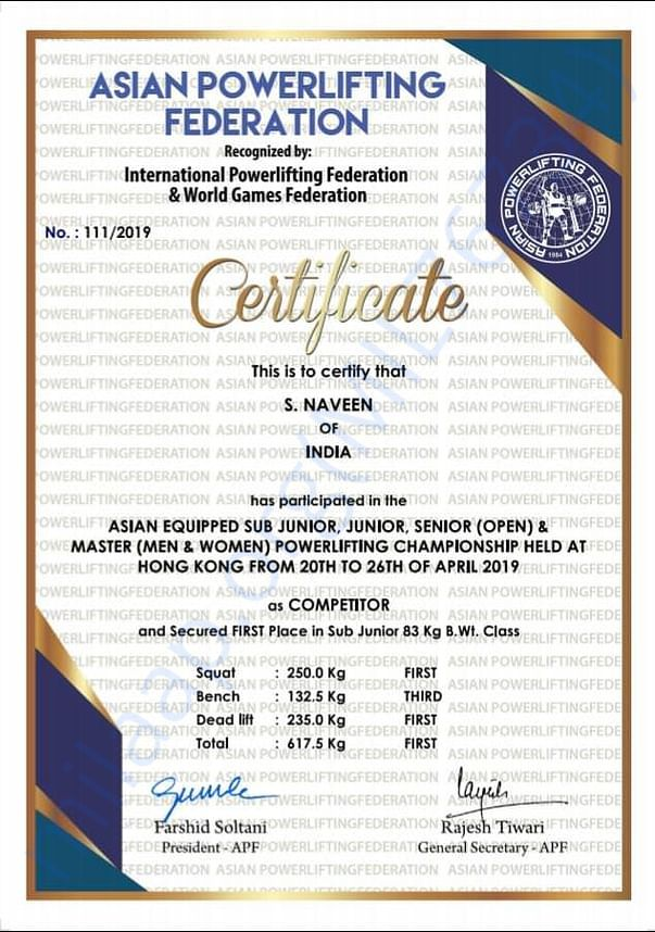 GOLD medal in Asian Powerlifting championship