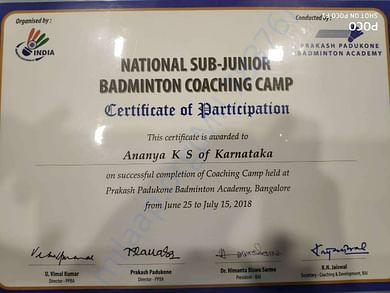 national Sub Junior coaching camp participation