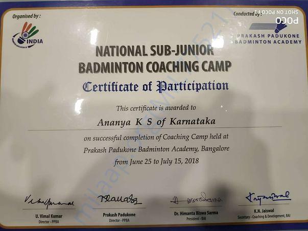 national Sub Junior coaching camp participation