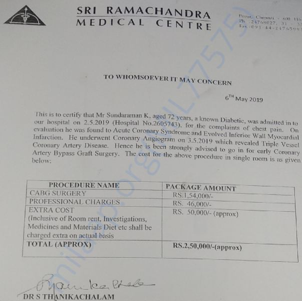 Medical Report from Sri Ramachandra Medical Centre (Dr. Thanikachalam)