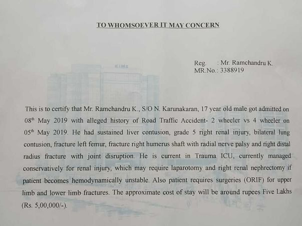 Help My Brother Ramchandru Who Met With A Road Accident