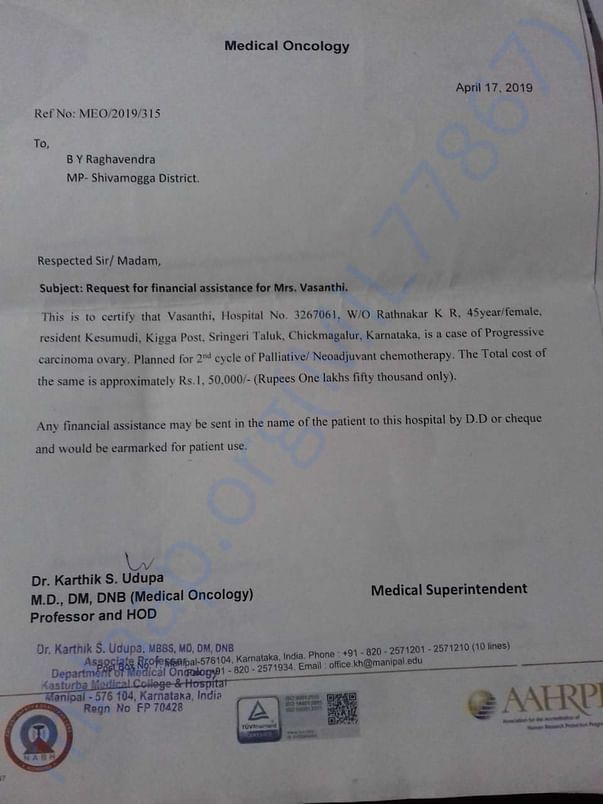 Request Letter to local politician with the Doctor Report