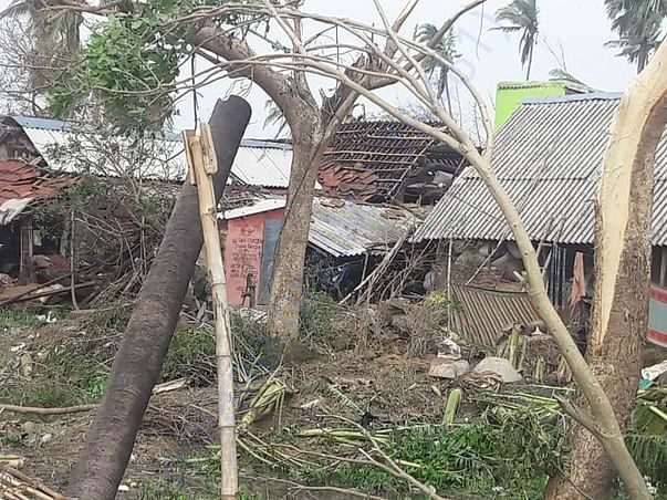 Destruction by the cyclonic winds