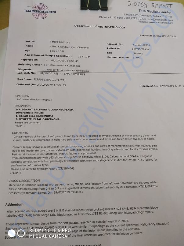 Biopsy Report from Tata Medical Center