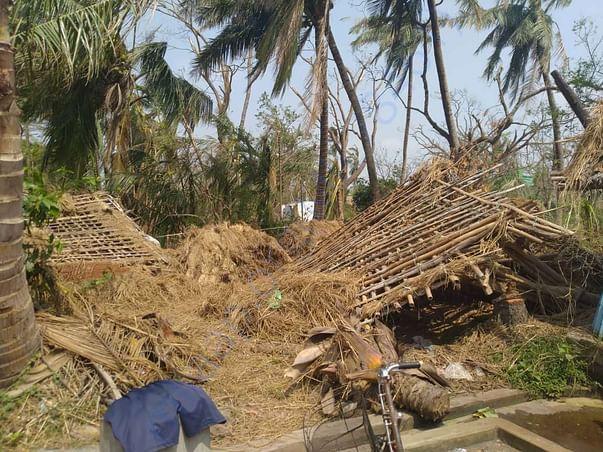 The demolished houses
