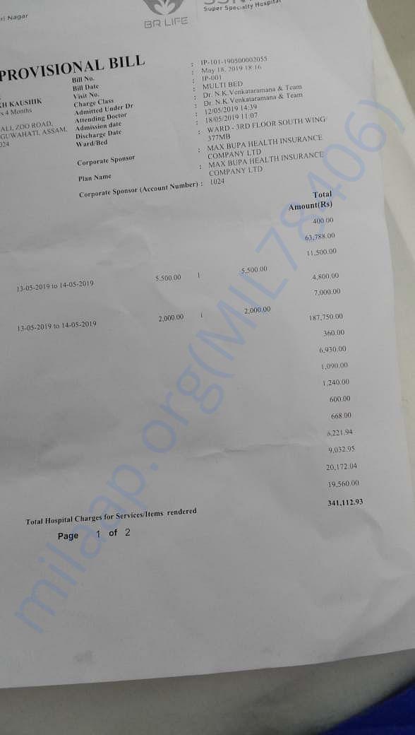 Current hospital bill