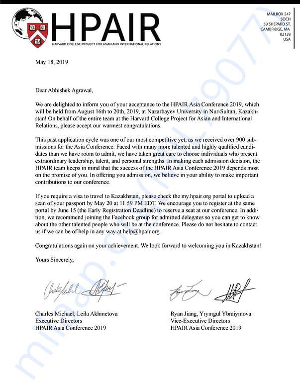 Acceptance Letter