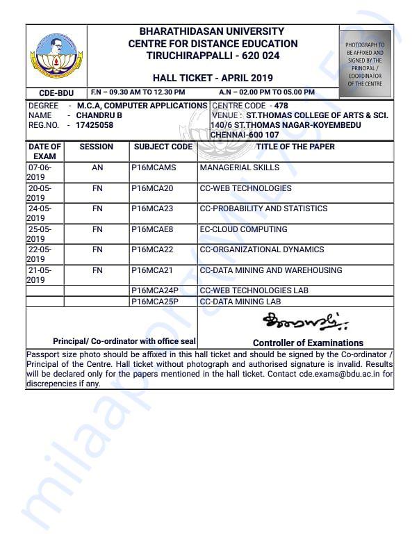 My exam hall ticket