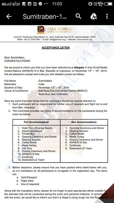 Invitation letter from MSUI