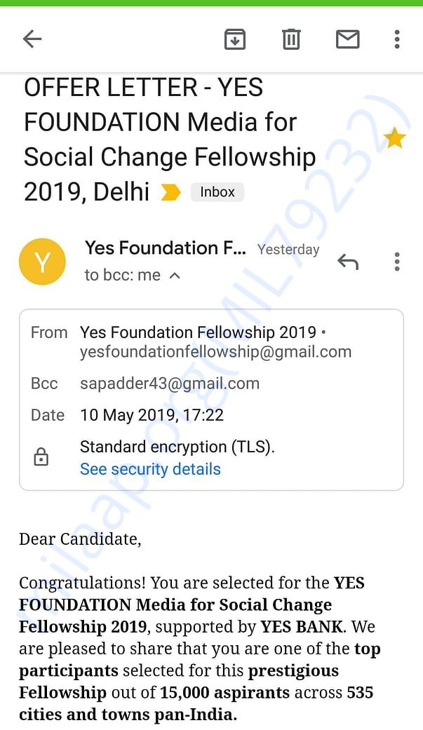 Latter of acceptance by yes foundation
