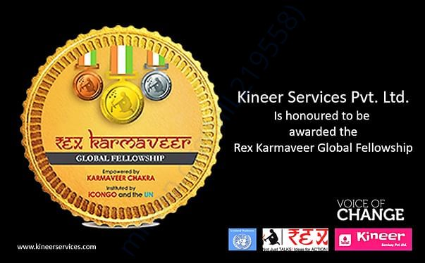 Kineer honored with theprestigious Rex Karmveer Global fellowship