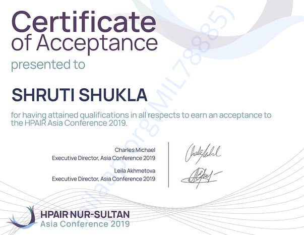 Certificate of Acceptance