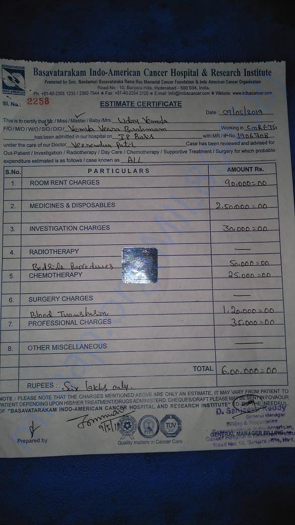 Medical Bills fr Uday Vemula