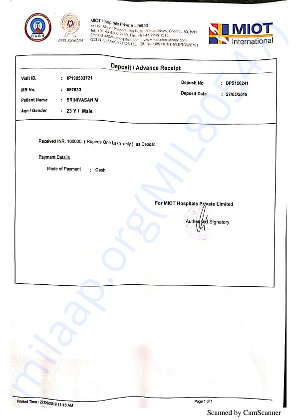 This is the bill paid so far for Srinivasan's surgery