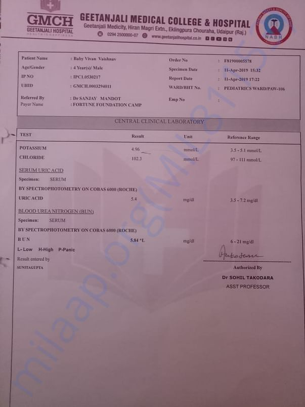 Serum Uric Acid Test Report