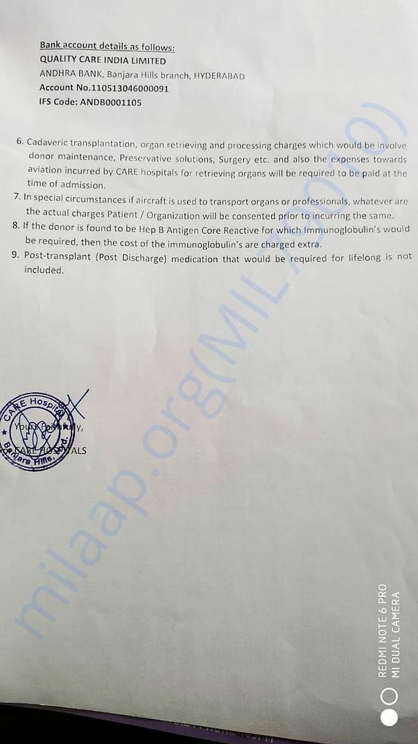 Estimate letter Page 2