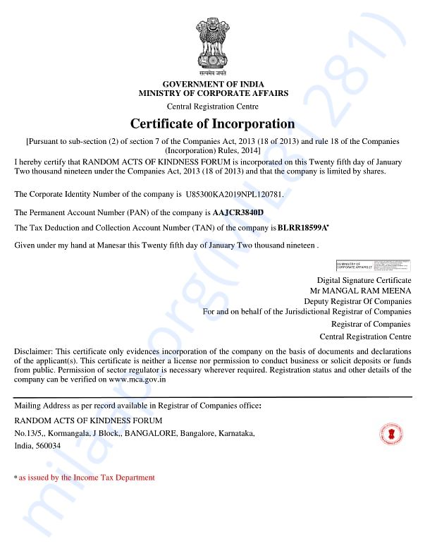 random acts of kindness forum - certificate of incorporation