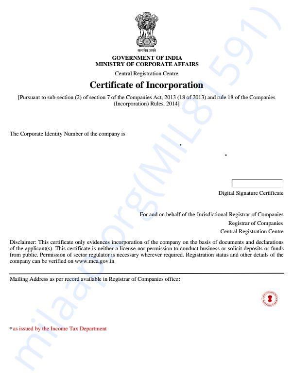 RAOK- incorporation certificate