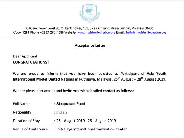 Help Me Take Part In Asia Youth International Model UN In Malaysia