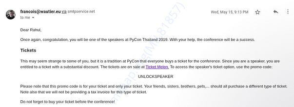 This is the invitation mail from the PyCon organizer