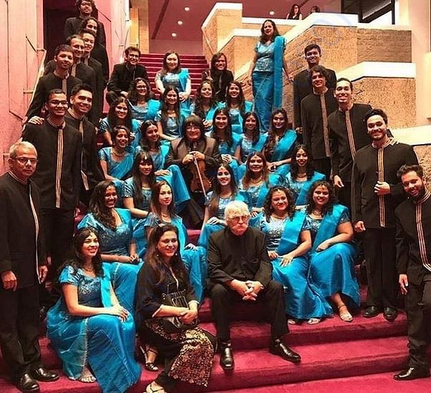 The choir with Sir Karl Jenkins