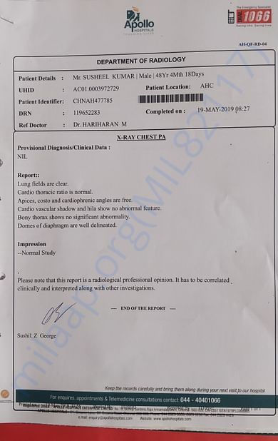Apollo Hospitals, Chennai reports
