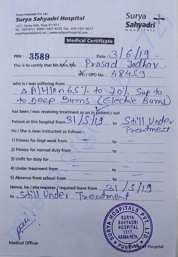 Hospital admission letter.