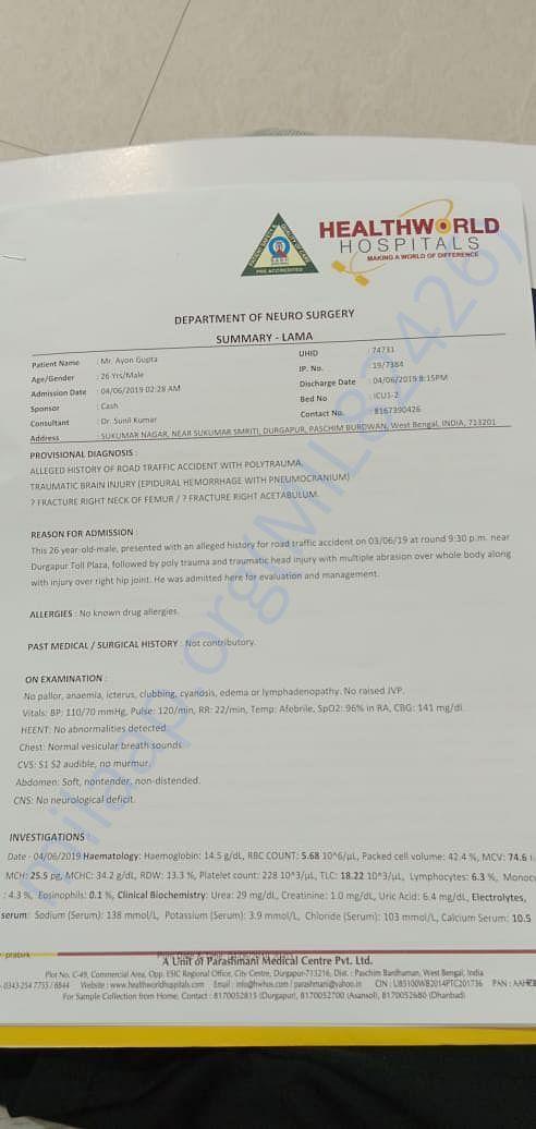 Medical report of Ayon Gupta