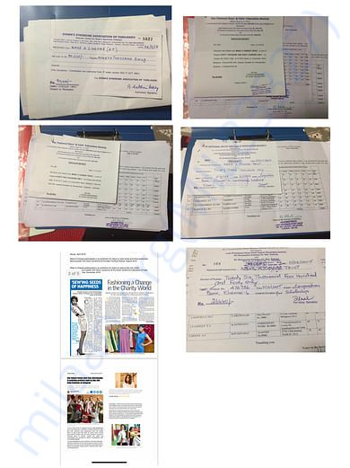 Our past donation receipts from schools and organisations