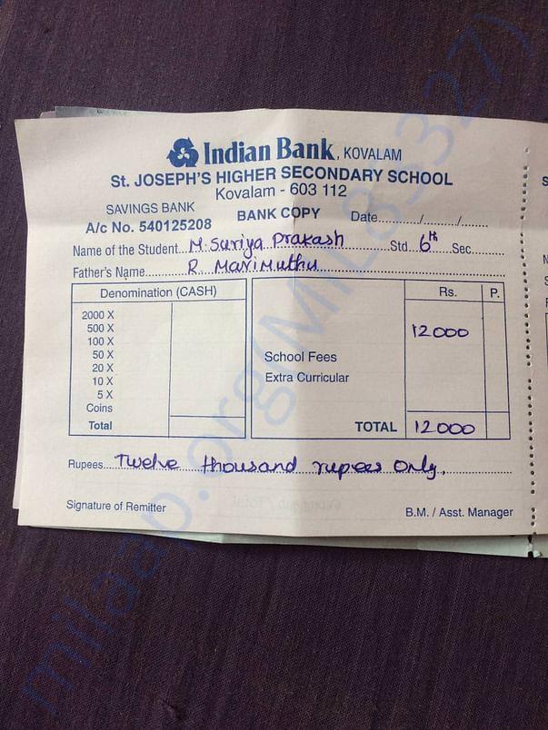Suriya prakash's fee due