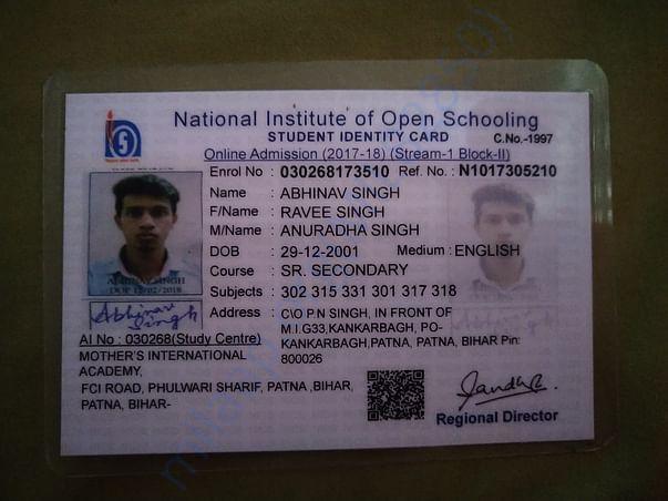 NIOS ID CARD