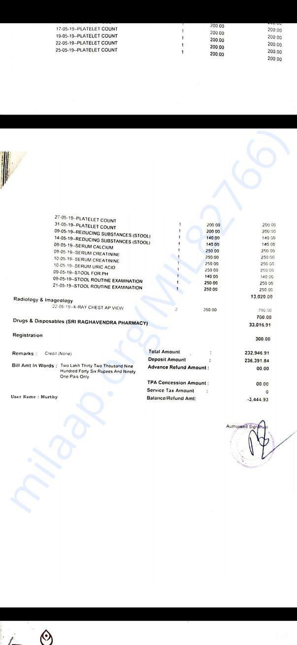 Detailed bill