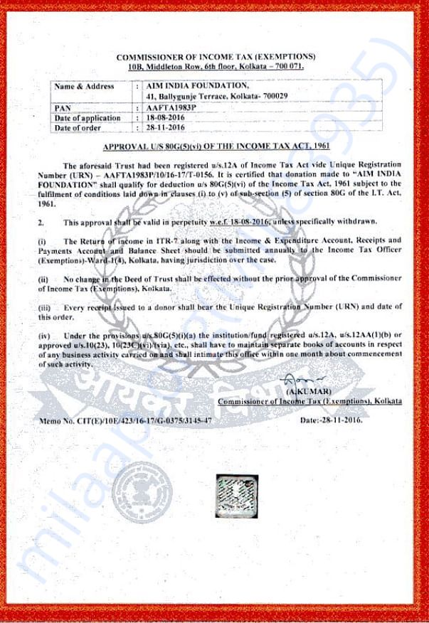 80 G Approval Certificate