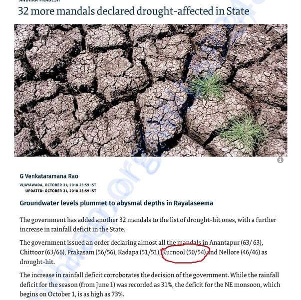 HINDU ARTICLE ON ANDHRA PRADESH DROUGHT 2018