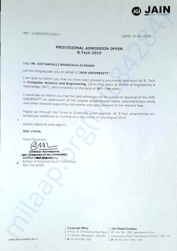 Avinash provisional admission letter