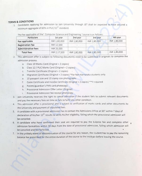 fees details. total fees to be paid excluding hostel