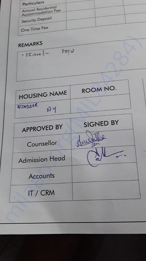 Hostel sanction document