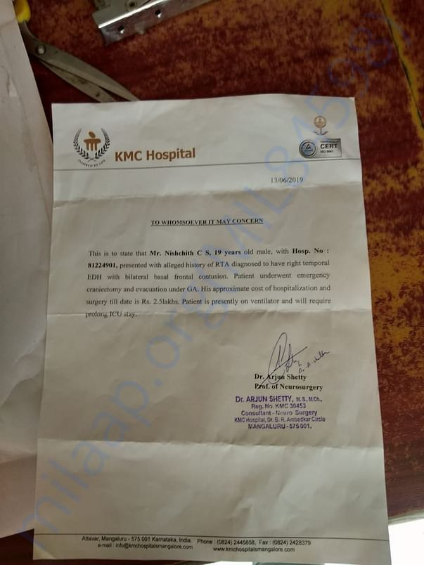Attached is the letter from consulting Doctor,
