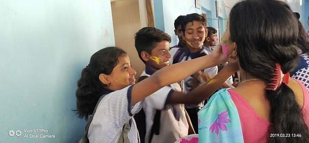 Students and Teacher's Holi Celebration