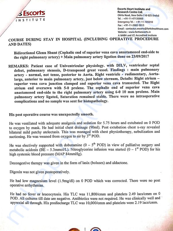 FEW REMARKS BY FORTIS DOCTORS