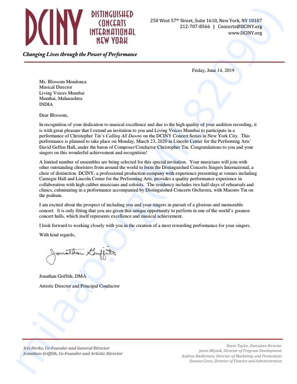 Invitation Letter from Distinguished Concerts International New York