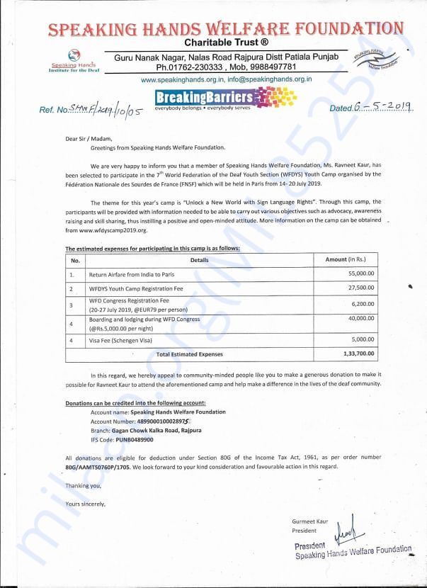 Speaking Hands Welfare Foundation Letter