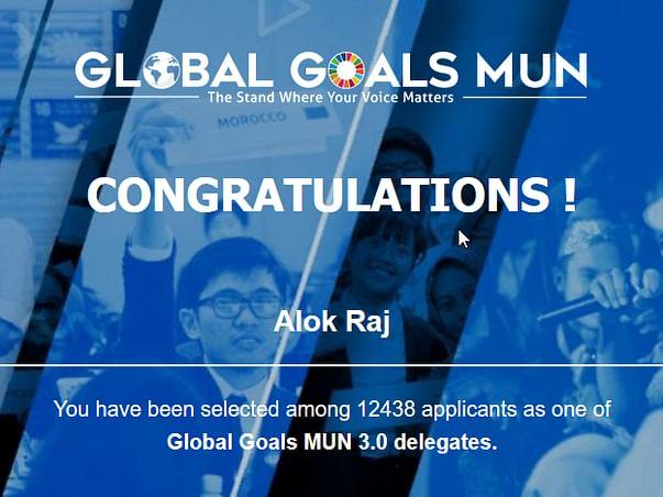 Support Alok in representing as a delegate in AWMUN,GGMUN, FCS, YOUTEX