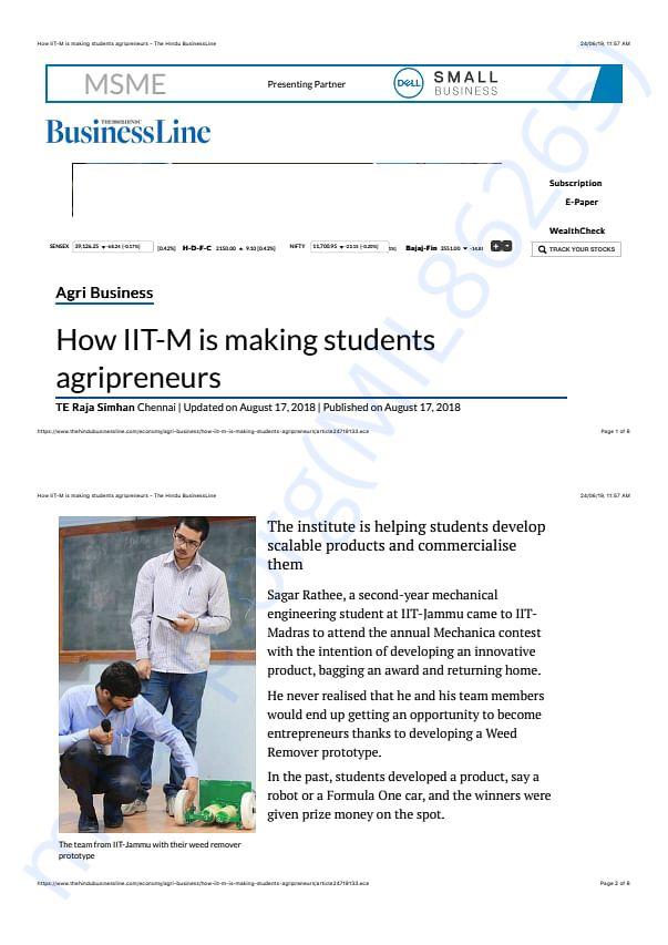 My Project got 1st award in IIT M