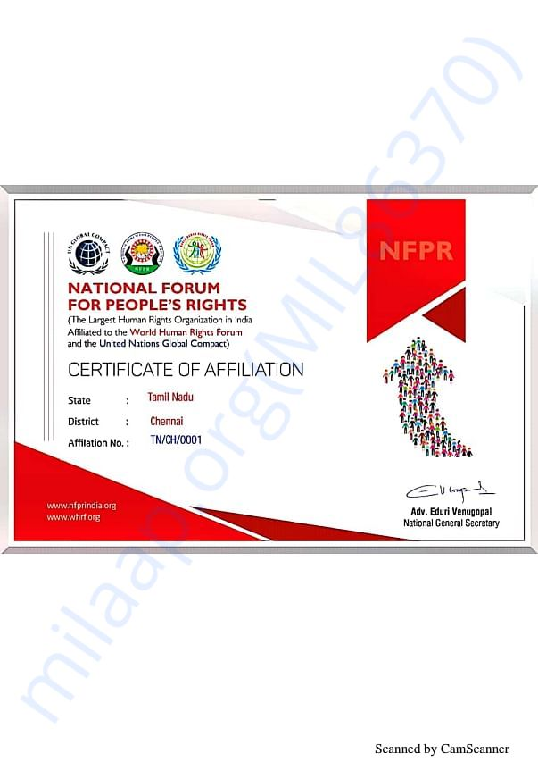 Our affiliation certificate