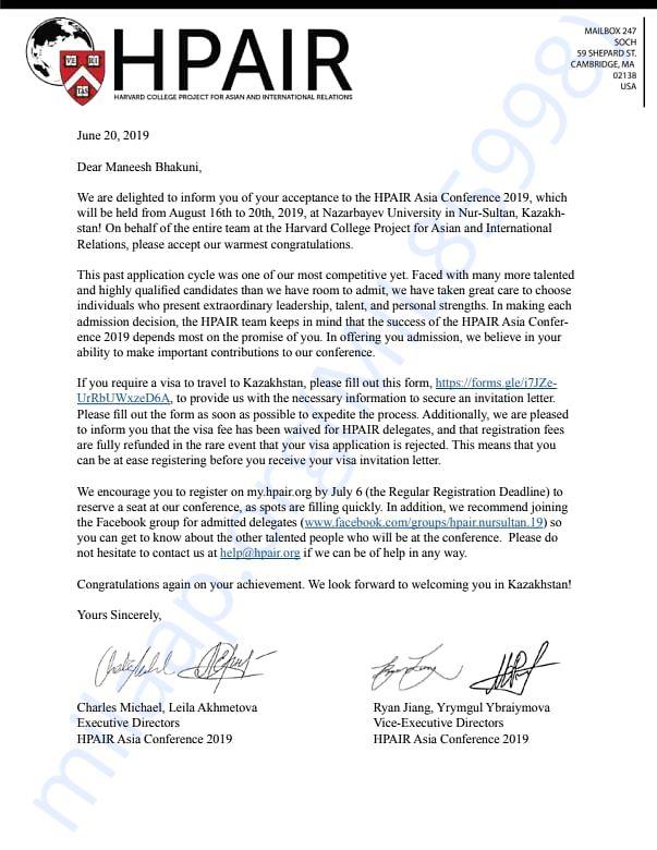 Harvard Confrence Acceptance Letter