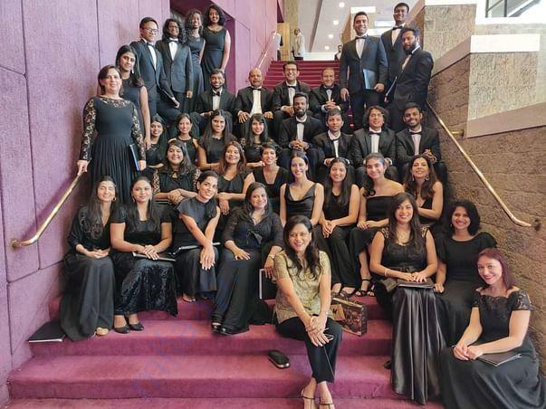 The choir after performing Beethoven's Ode to Joy at NCPA, Mumbai