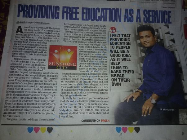 Story of founder Mr Harigaran and our centre in Times of India