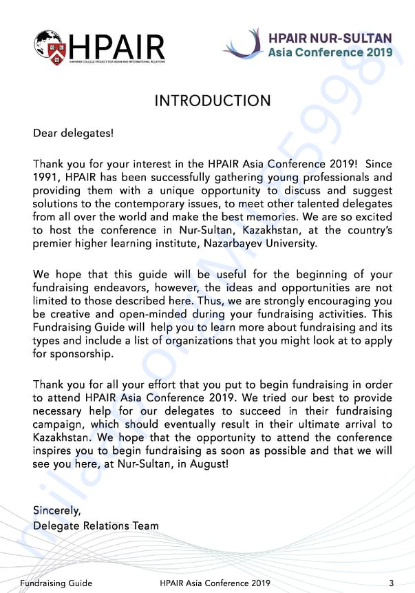 Encouragement from hpair for FUND RAISING to all Delegates.