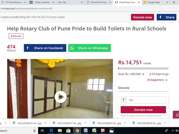 Rotary Club of Pune Pride to Build Toilets . Project completed.